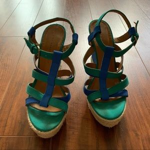 Zara Woman Wedges - US 8 - Blue Green Sandals 🌴